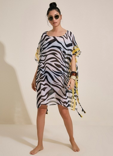 Morhipo Beach Zebra Desenli Pareo Siyah